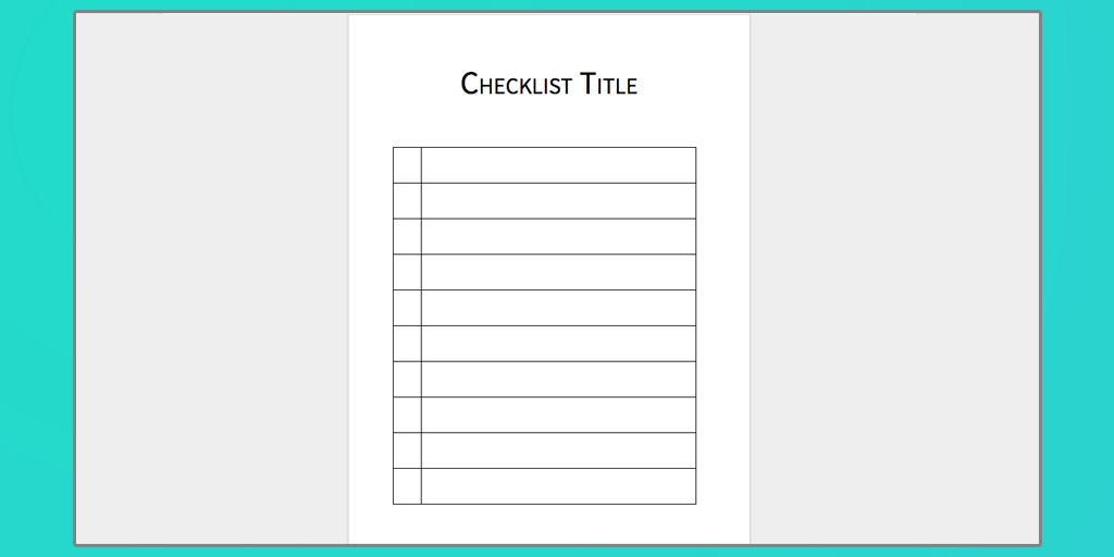 checklist template word examples and forms