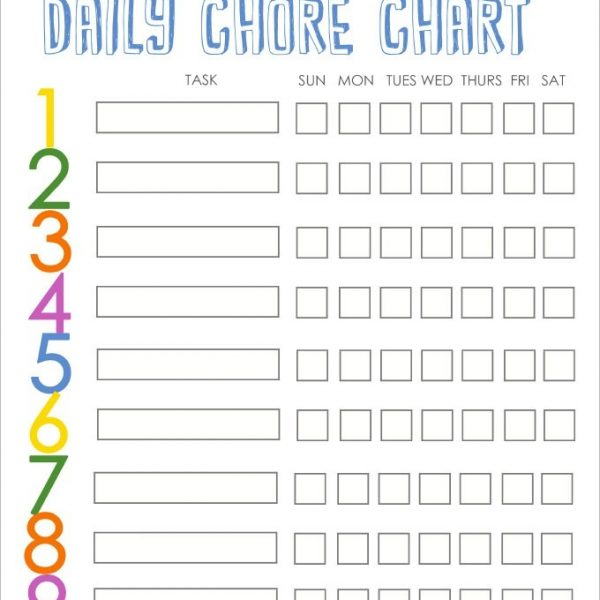 Family Chore Chart Template \u2013 10+ Free Word, Excel, Pdf Format