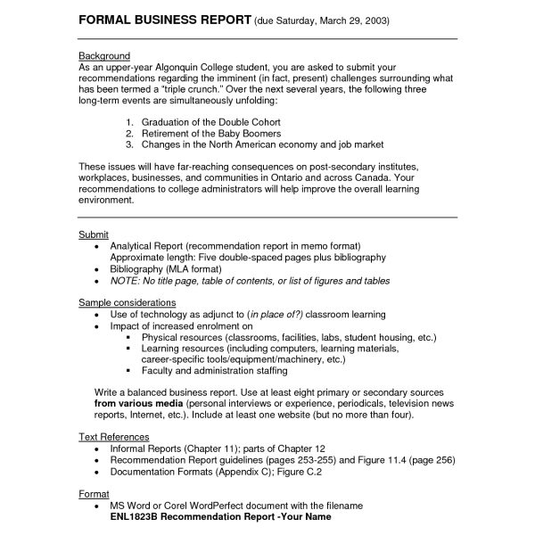 Formal Business Report Sample \u2013 Asafonggec within Formal