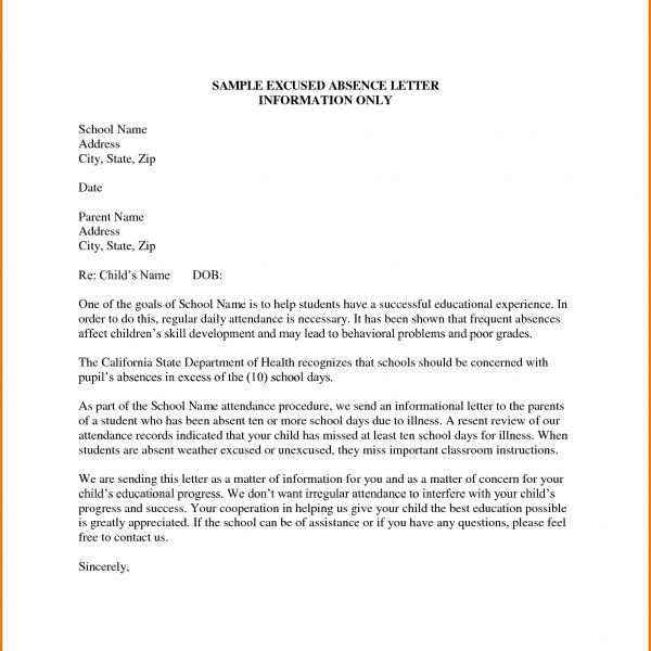 Formal Letter Format For School Students Examples and Forms - absent from class letter