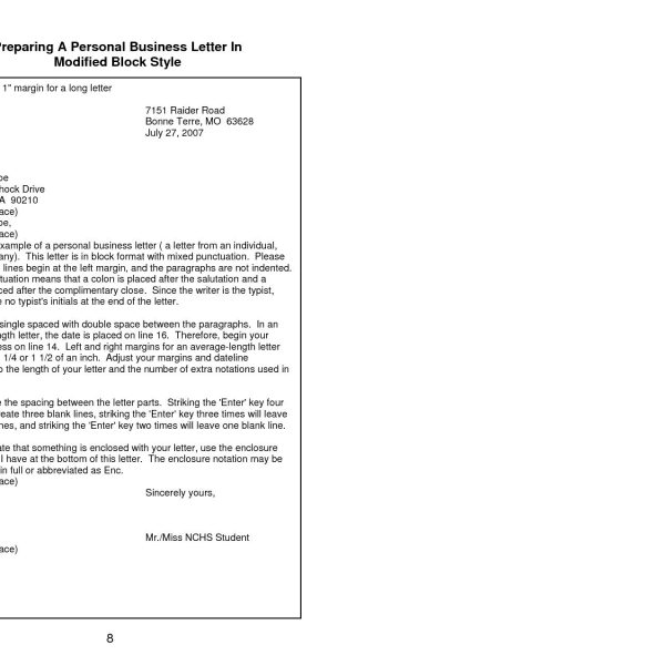 Format And Style Of A Business Letter Copy Personal Business within - personal business letter