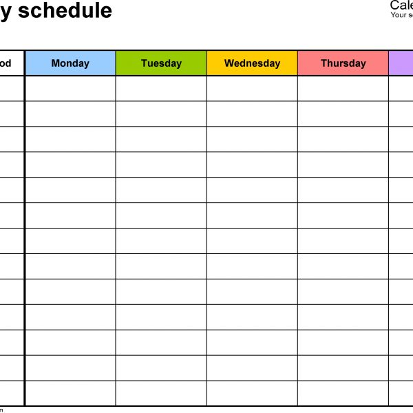 Free Weekly Schedule Templates For Word \u2013 18 Templates with regard