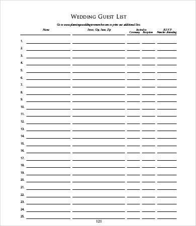 wedding guest list template pdf - Josemulinohouse