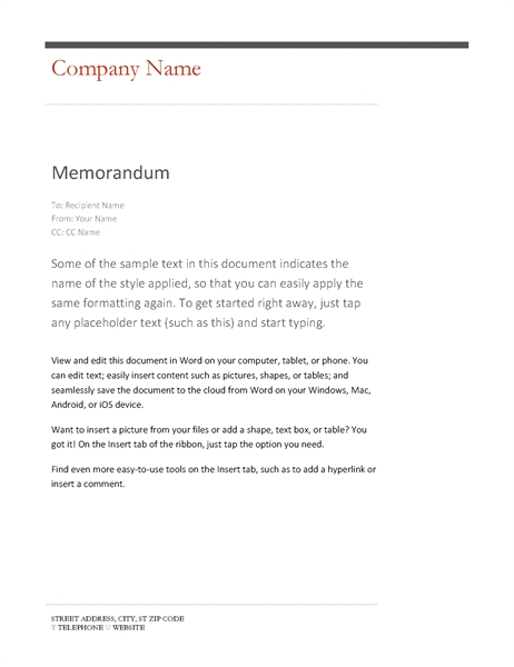 Memo Format Word Examples and Forms - memo format on word