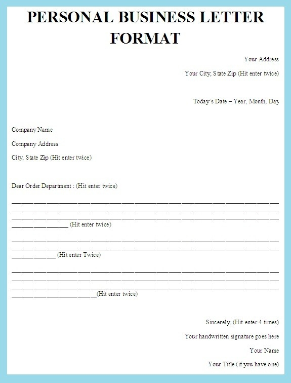 Personal Business Cover Letter Format Examples and Forms - business cover letters