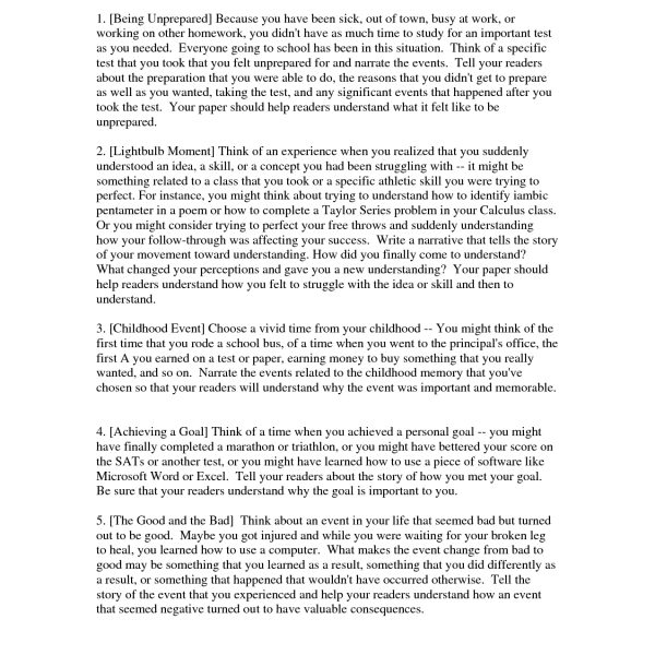 Personal Narrative Essay Examples High School 2 Cover Letter