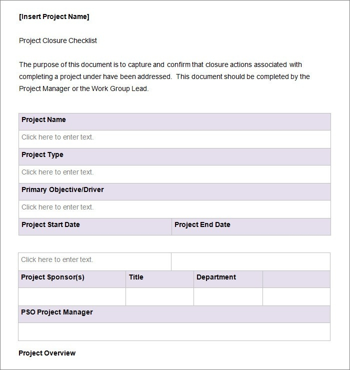 Project Checklist Template Word Examples and Forms