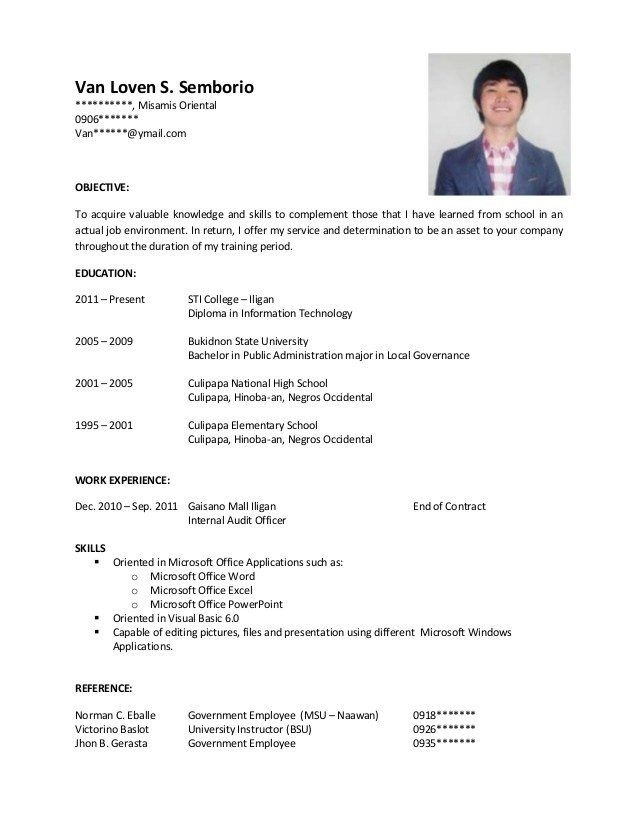 Resume Sample For Fresh Graduate Information Technology Examples