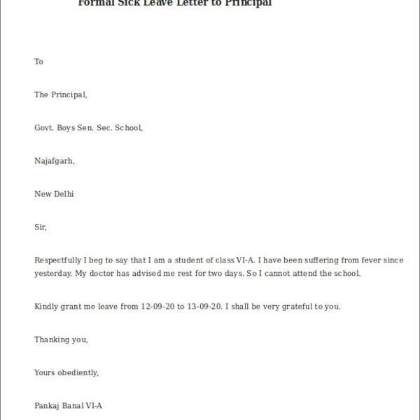 Sample Formal Sick Leave Letters \u2013 5+Examples In Word, Pdf regarding - leave letter