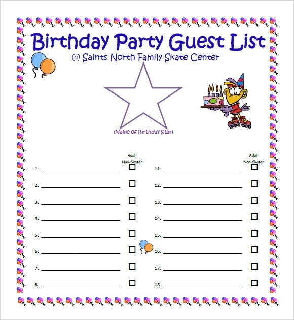 Party Guest List Template Examples and Forms - sample guest list