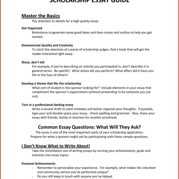Scholarship Essay Format Examples And Forms throughout Scholarship