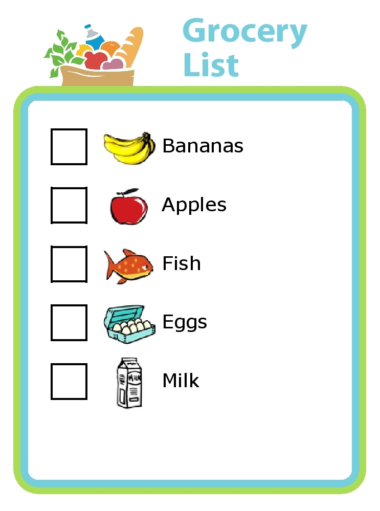 Shopping List For Kids Examples and Forms - example grocery list