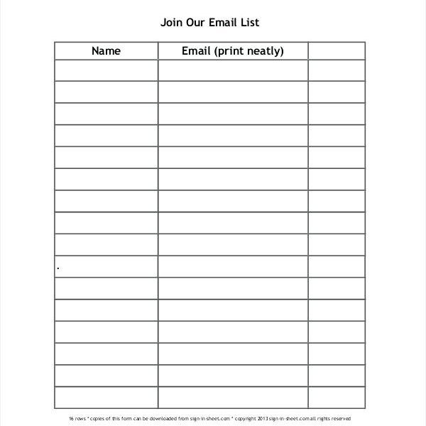sign up sheet template name email phone number bire1andwap