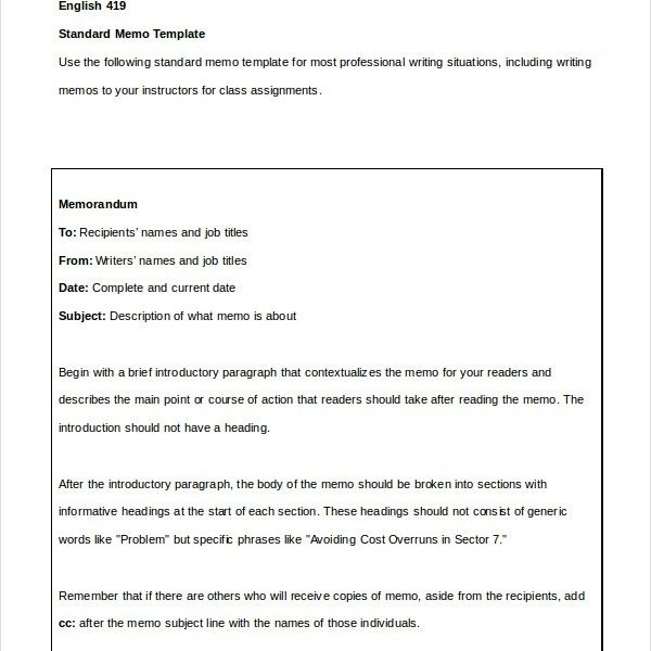 Simple Memo Template \u2013 19+ Free Word, Pdf, Psd Documents Download in