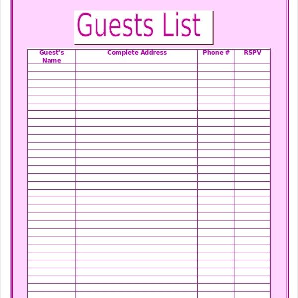 Wedding Guest List Template \u2013 9+ Free Word, Excel, Pdf Documents - guest list template