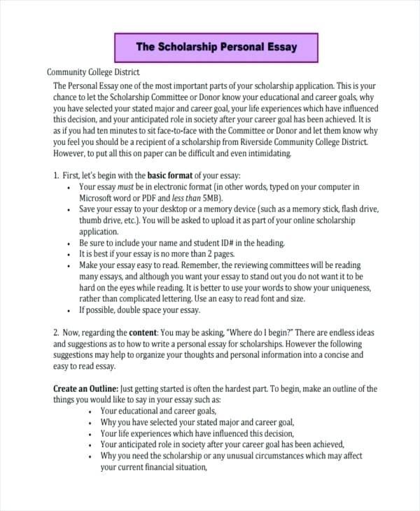 College Scholarship Essay Format Examples and Forms