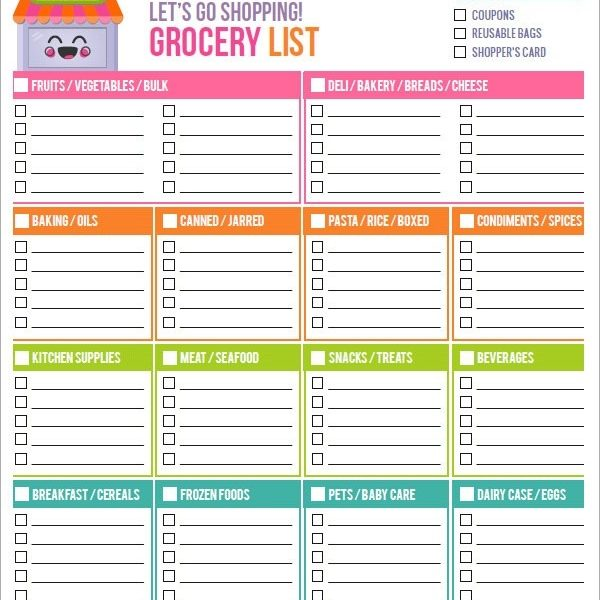 28 Free Printable Grocery List Templates Kitty Baby Love within - grocery list spreadsheet