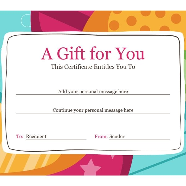Birthday Gift Certificate (Bright Design) \u2013 Office Templates with