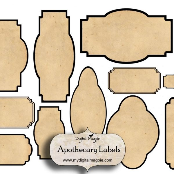 Digital Collage Sheet Blank Apothecary Labels Antique Shabby inside