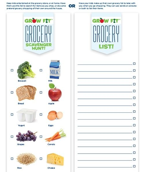 Free Printable Grocery Shopping List For Kids La Petite Academy