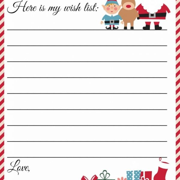 Free Printable Letter To Santa Template ~ Cute Christmas Wish List - free christmas wish list