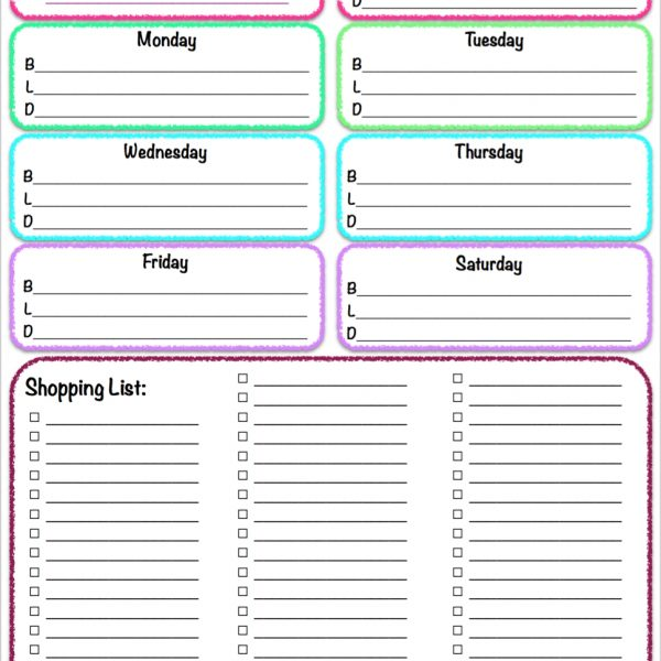 Free Printables Weekly Meal Planner  Grocery List ~ The inside - weekly dinner planner with grocery list
