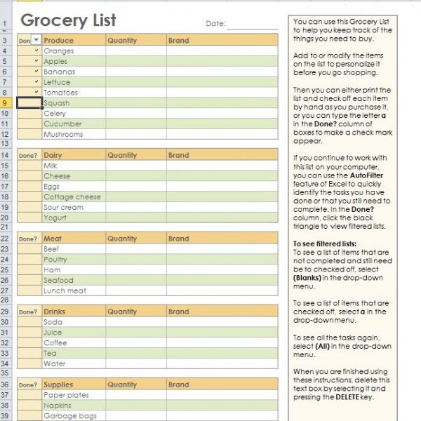 Grocery Shopping List Template For Excel in Grocery List Template - grocery shopping template