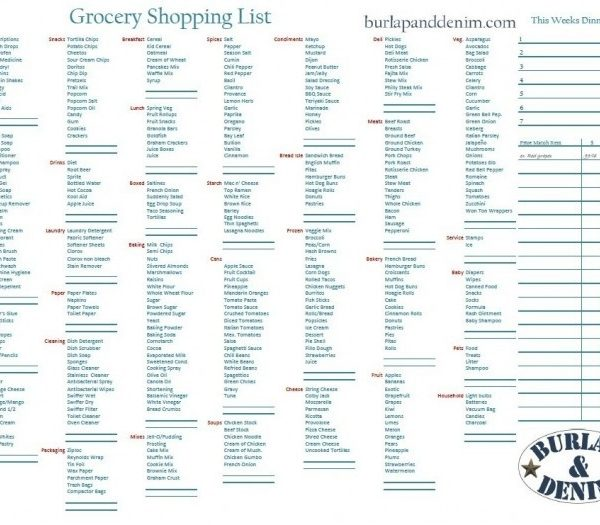 Grocery Shopping List With Walmart Price Matching Section And Menu - grocery shopping list template
