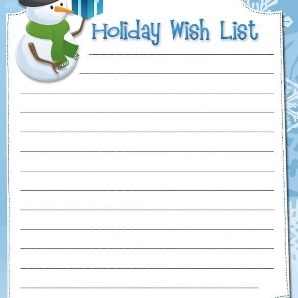Interesting Holiday Wish List Form Template For Christmas With