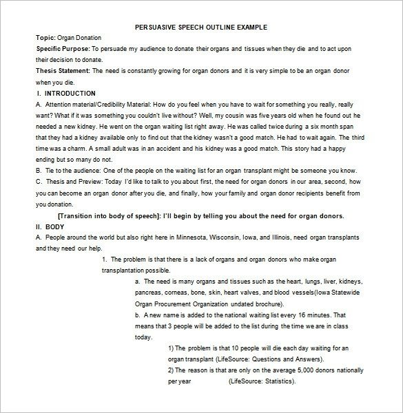 Persuasive Speech Outline Template \u2013 9+ Free Sample, Example