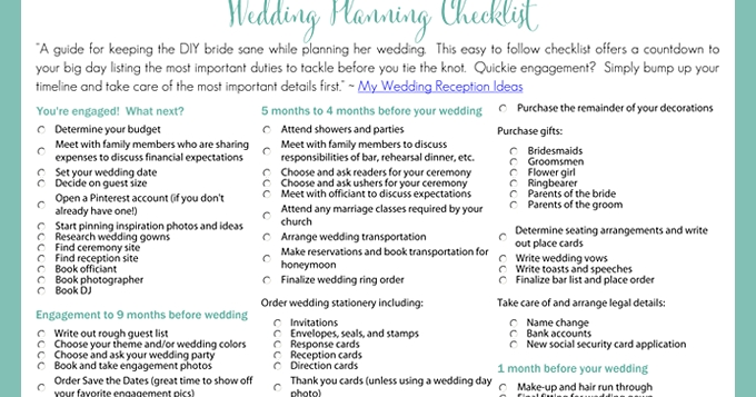 Printable Wedding Planning Checklist Examples and Forms