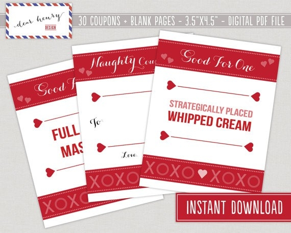 Romantic And Naughty Printable Love Coupons For Him Glitter \u0027n