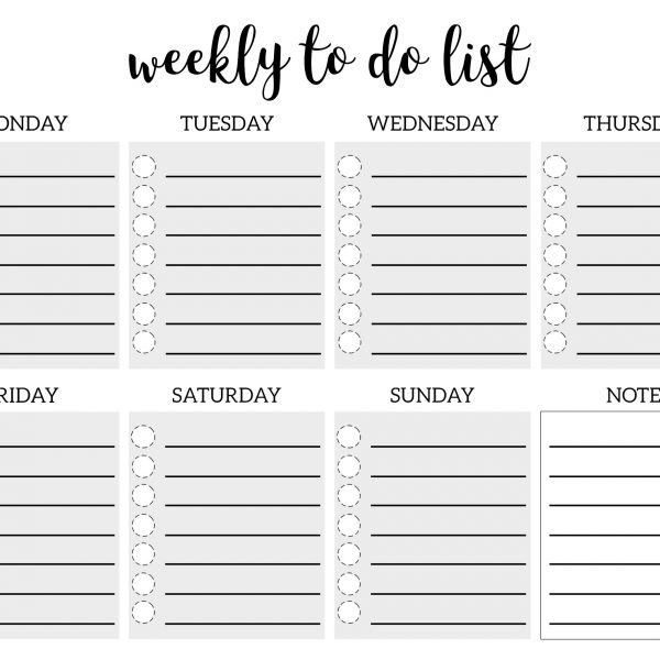 Weekly To Do List Printable Checklist Template \u2013 Paper Trail Design