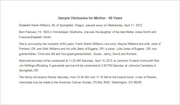 Obituary Template For Mother \u2013 12+ Free Word, Excel, Pdf Format