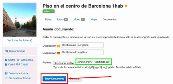 Añadir Documentos a Inmuebles: Subir Documento