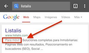 Ejemplo como google muestra una web que está adaptada a móviles