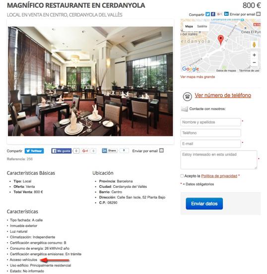Acceso Vehículos web inmobiliaria