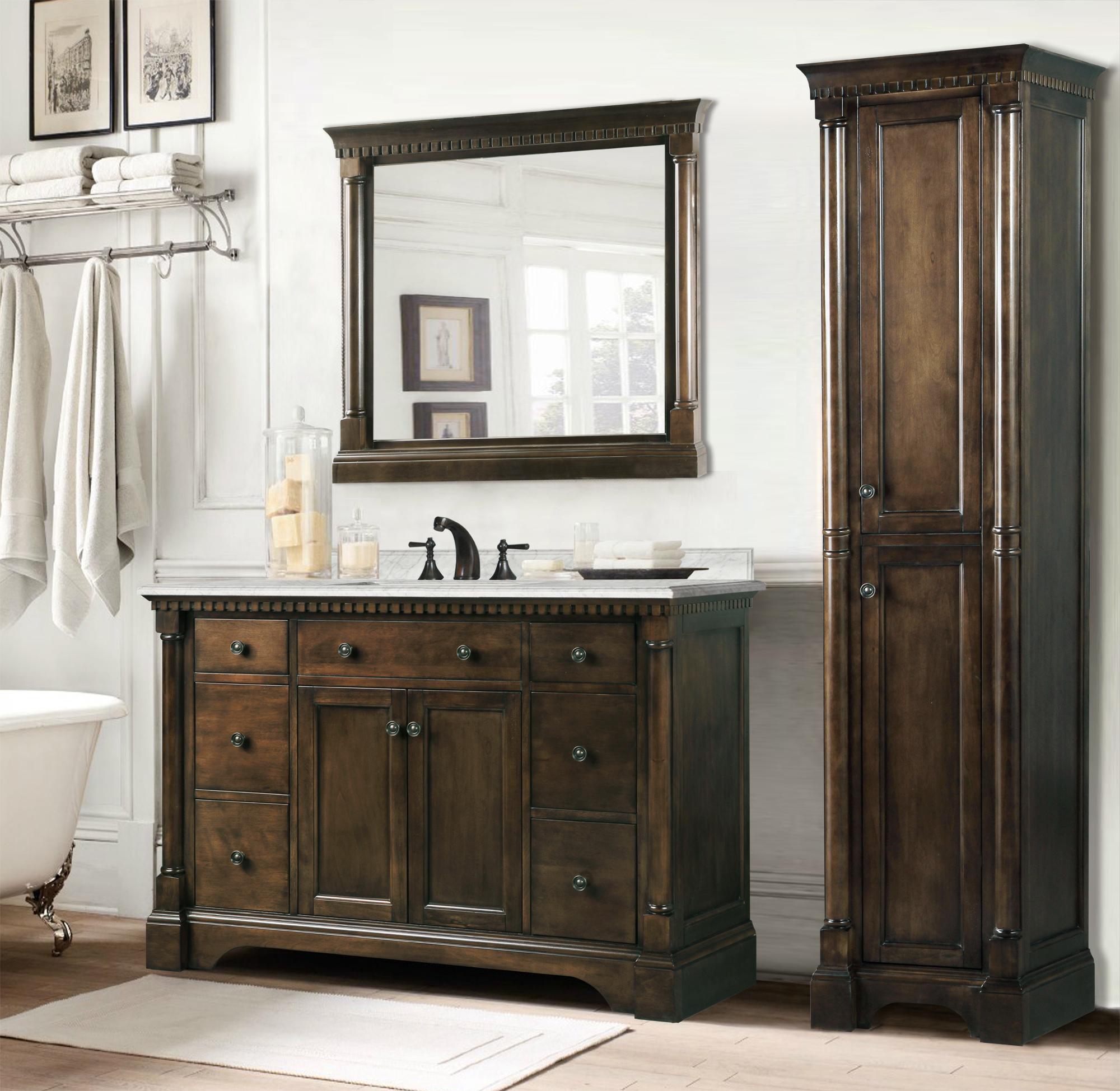 Legion 48 inch antique single sink bathroom vanity antique coffee finish