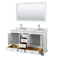 60 inch Double Sink Transitional White Finish Bathroom ...