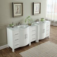89 inch Double Sink Contemporary Bathroom Vanity White ...