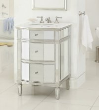 Adelina 24 inch Mirrored Bathroom Vanity, Imperial White ...