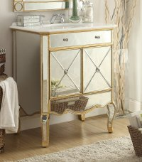 Adelina 30 inch Mirrored Gold Bathroom Vanity Marble Top
