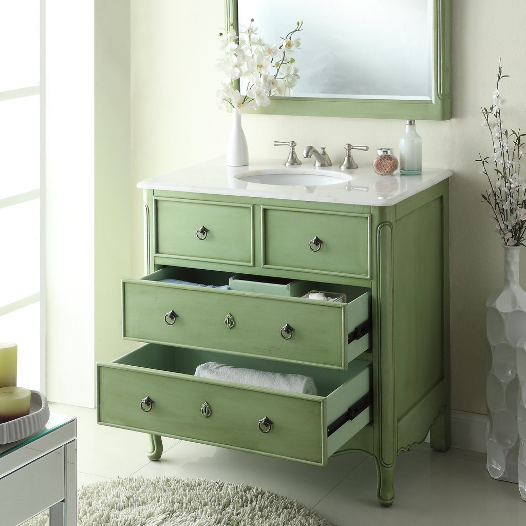 adelina 36 inch vintage bathroom vanity vintage green finish