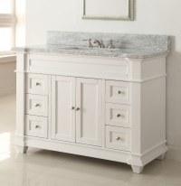 Adelina 49 inch Bathroom Vanity White Finish Carrara ...