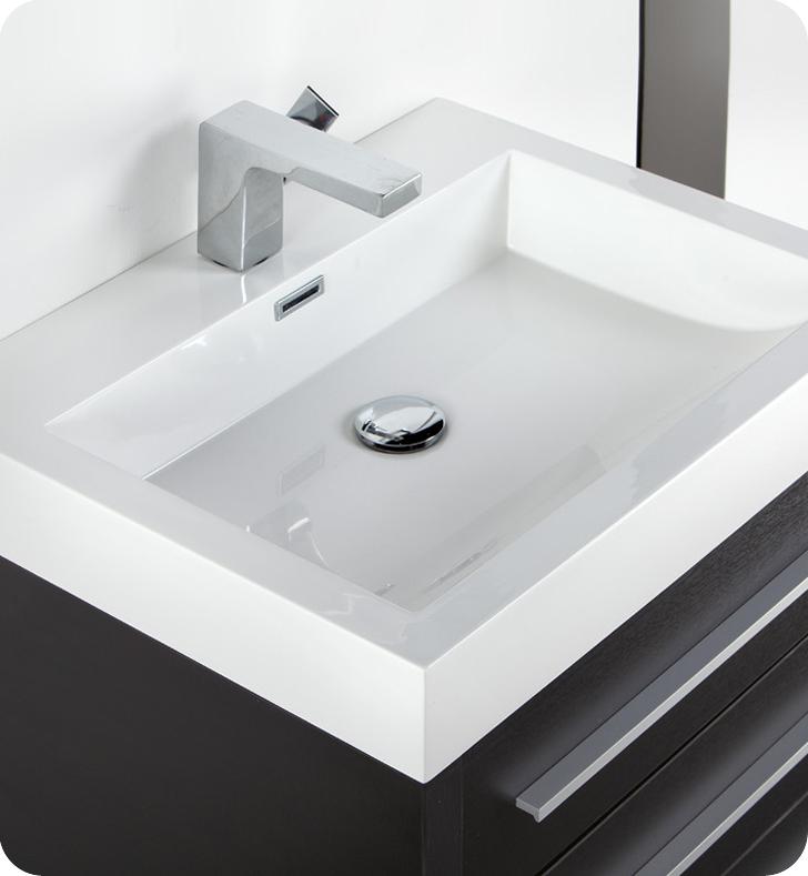 Fresca livello 24 quot black modern bathroom vanity with