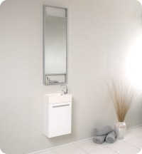 "Fresca Pulito 16"" Small White Modern Bathroom Vanity with ..."