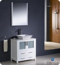 "Fresca Torino 30"" White Modern Bathroom Vanity Vessel Sink ..."