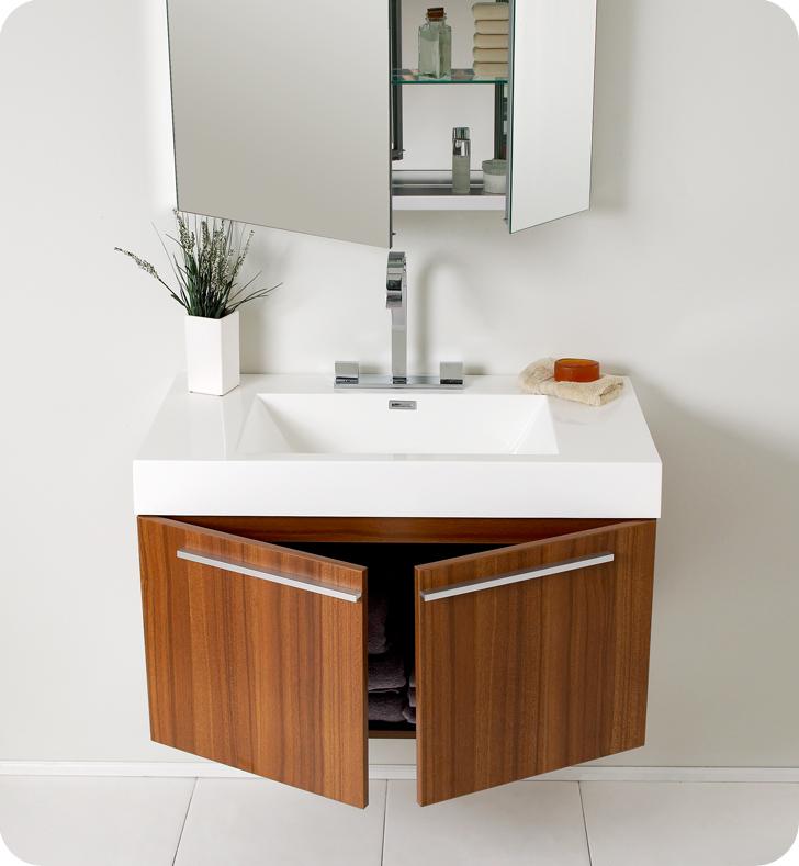Fresca vista teak modern bathroom vanity with medicine cabinet