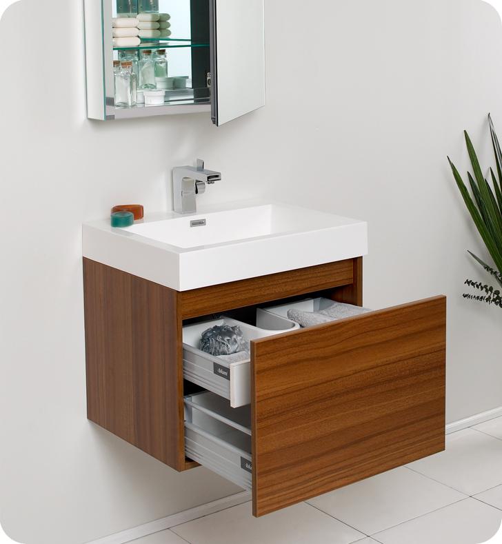Fresca Nano Teak Modern Bathroom Vanity with Medicine Cabinet is - designer bathroom vanities