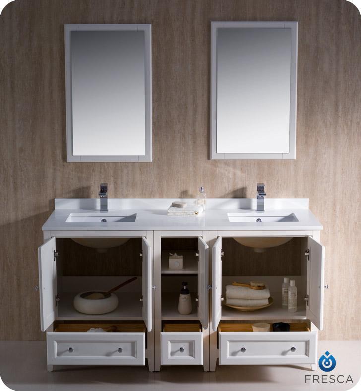 Fresca oxford 60 quot double sink traditional bathroom vanity